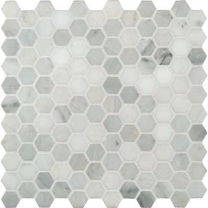 Msi Greecian White Hexagon 12 In X 10mm Honed Marble Mesh