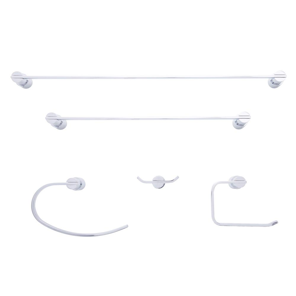 Dyconn daytona series 5 piece set bath accessory set in for Bathroom 5 piece set