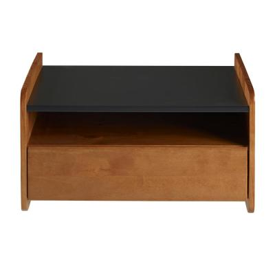 1-Drawer Caramel Solid Wood Floating Nightstand