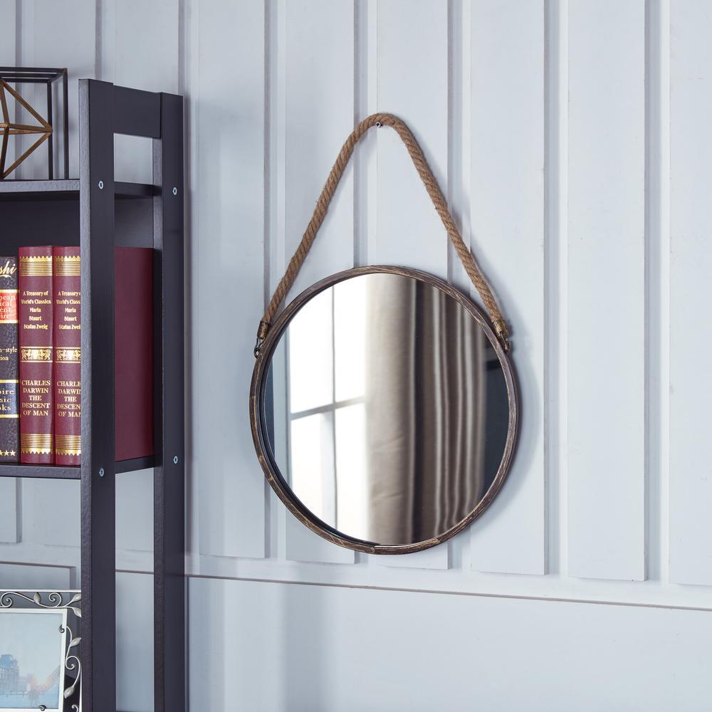 DANYA B 15 inch Gold Patina Round Mirror with Hanging Rope by DANYA B