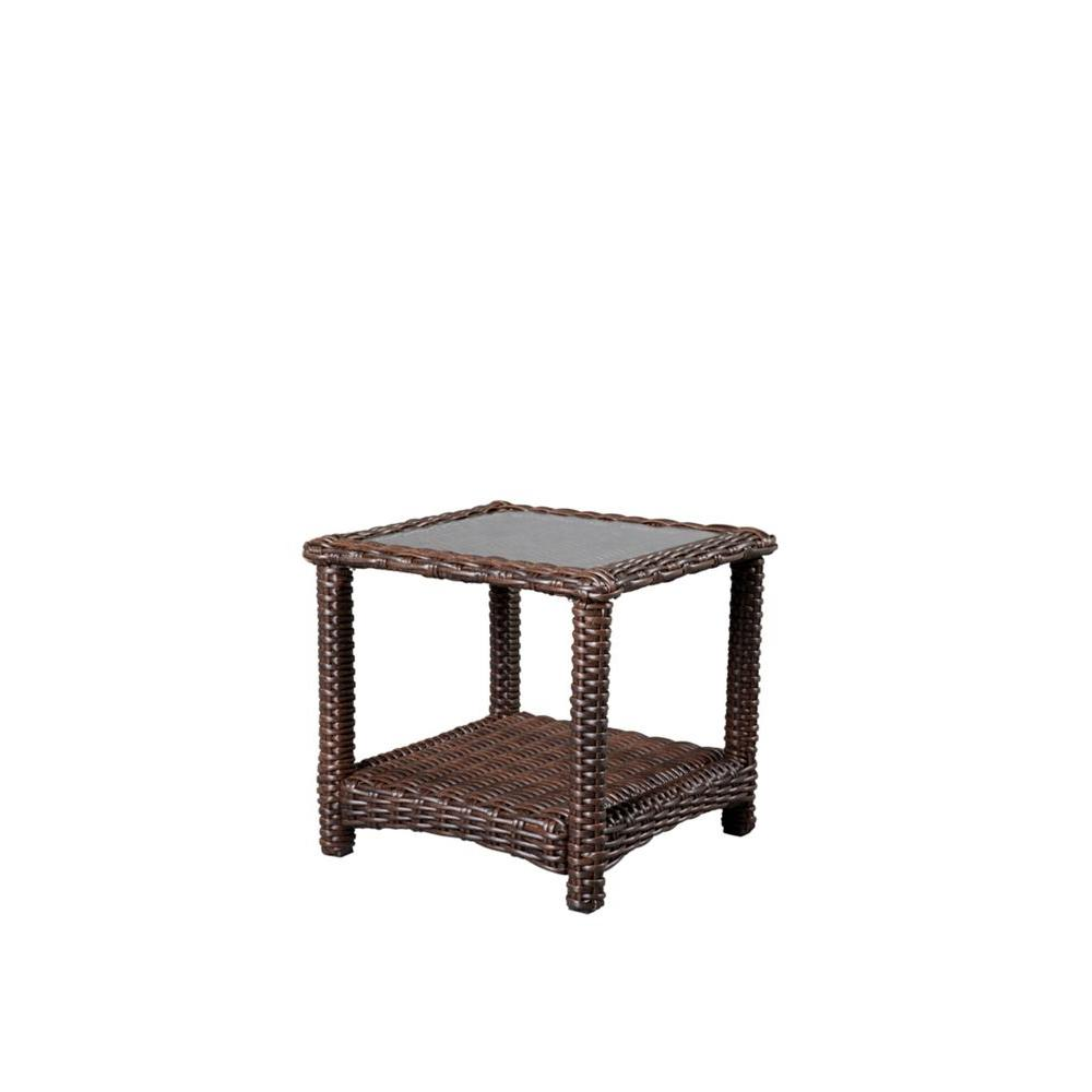 Hampton Bay Mill Valley 22 In Square Patio Accent Table