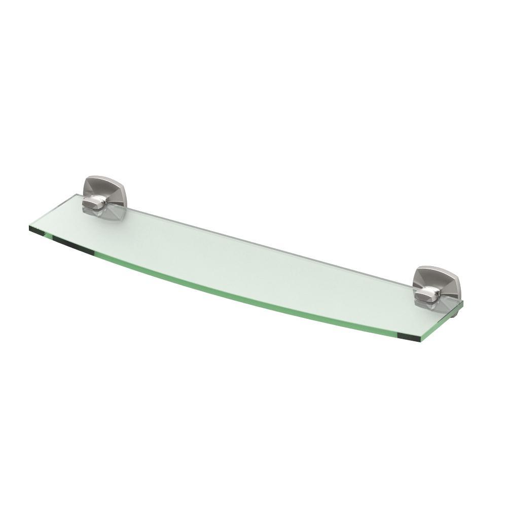 Delta Greenwich 5.4 in. W Glass Bathroom Shelf in Brushed Nickel ...