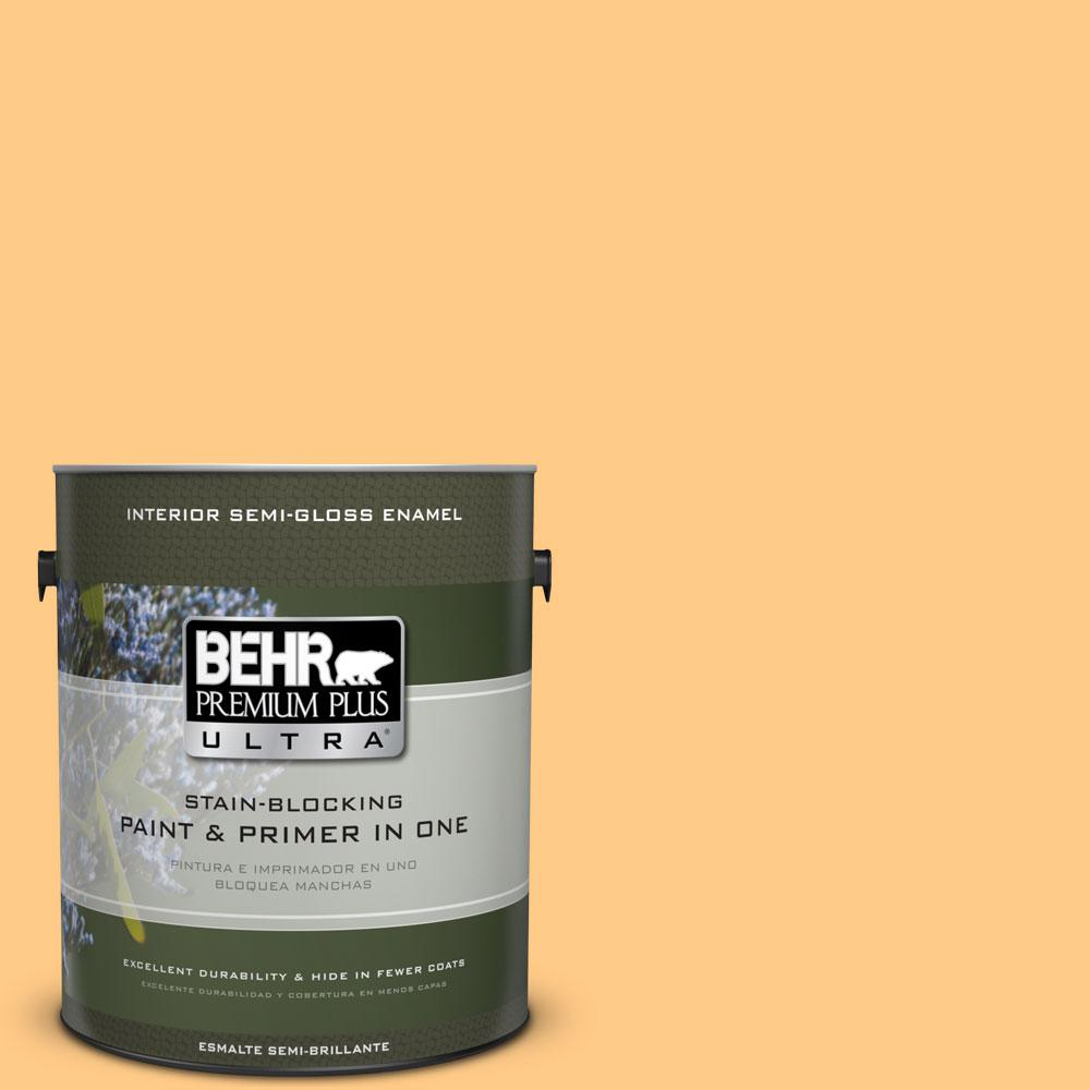 1 gal. #290B-5 Torchlight Semi-Gloss Enamel Interior Paint and Primer in