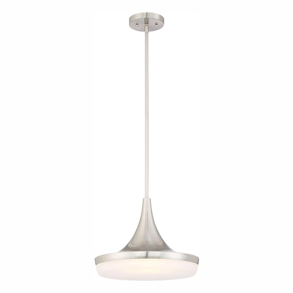 Home Decorators Collection 40-Watt Equivalent 14 in. Brushed Nickel Integrated LED Mini Pendant