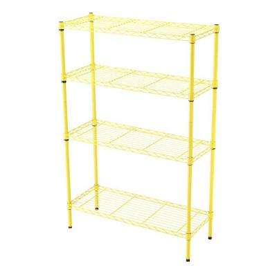 36 in. x 14 in. 4-Tier Yellow Wire Shelf