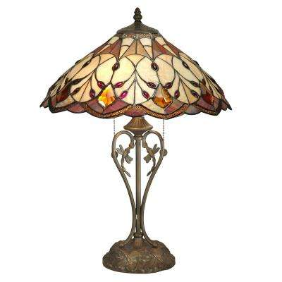 24 in. Antique Bronze Marshall Table Lamp with Tiffany Art Glass Shade