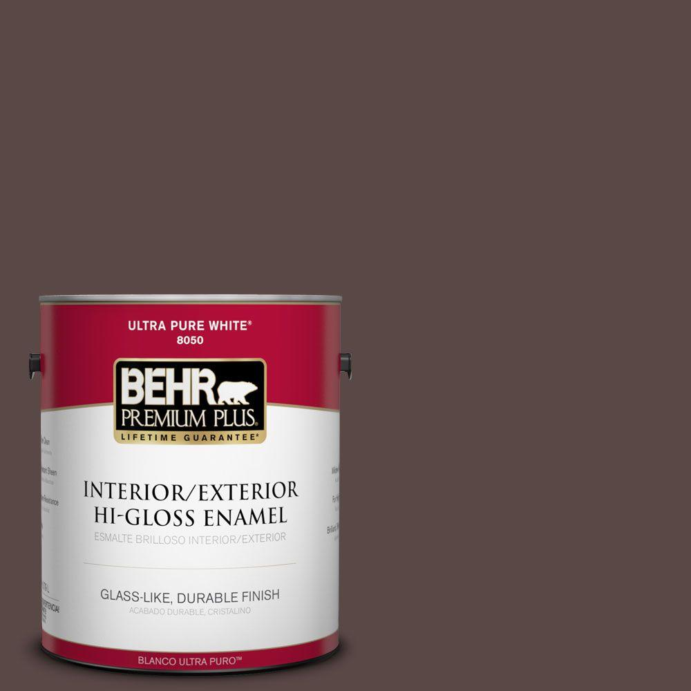 BEHR Premium Plus 1-gal. #750B-7 Thick Chocolate Hi-Gloss Enamel Interior/Exterior Paint