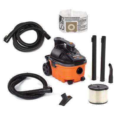 4 Gal. 5.0-Peak HP Wet/Dry Shop Vacuum with Filter, Hose, Accessories and Additional 14 ft. Tug-A-Long Hose