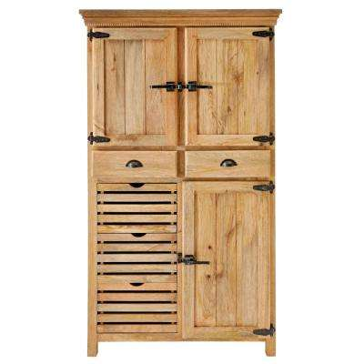 Rustic Refrigerator Natural Distressed Storage Cabinet