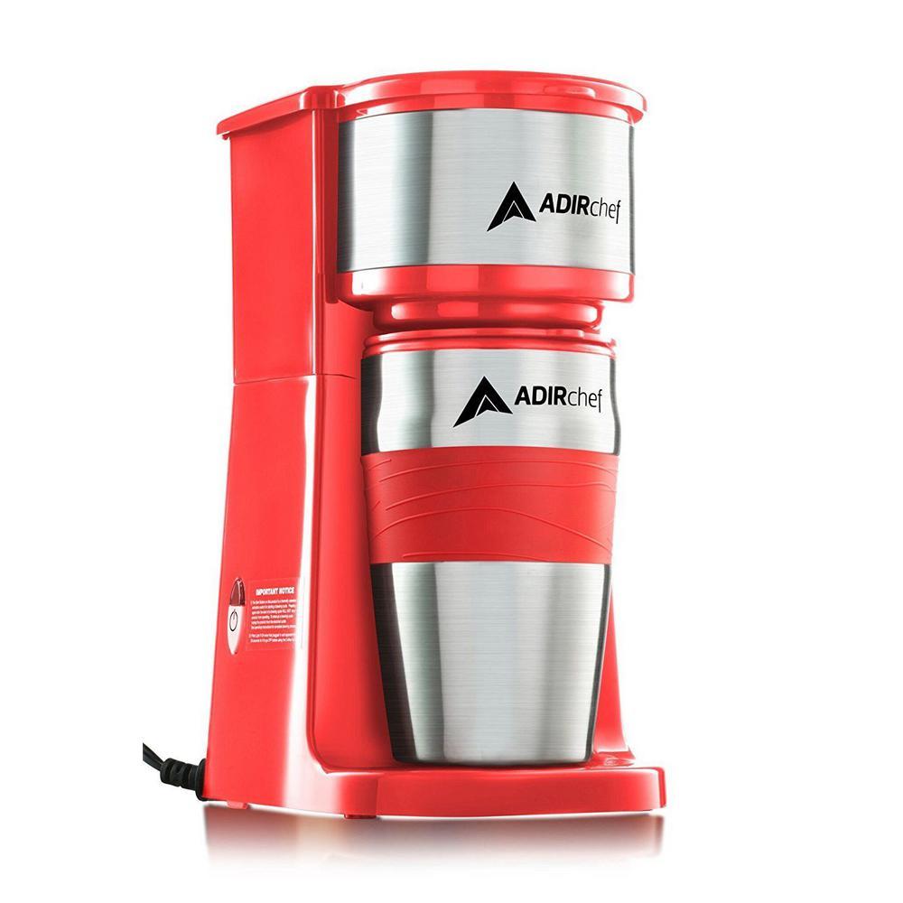 AdirChef Grab'n Go Red Single Serve Coffee Maker with Stainless Steel Travel Mug
