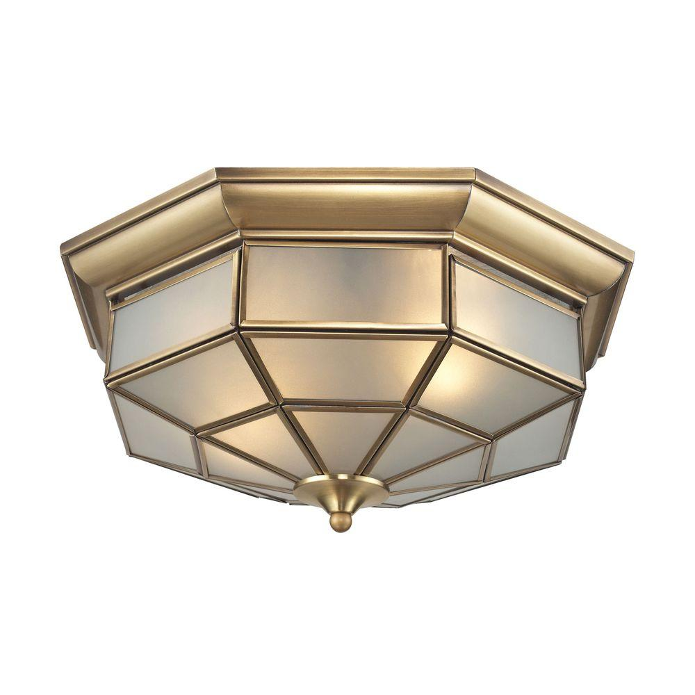 Titan Lighting Linoka 2-Light Brushed Brass Flush Mount