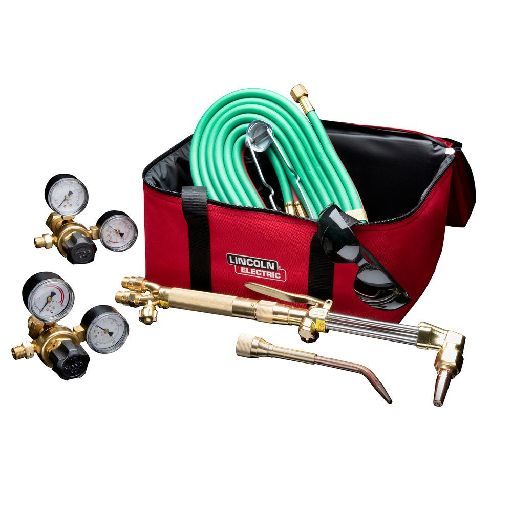 Lincoln Electric Cut Welder Kit with Torch, Oxygen and Acetylene Regulators, 3/16 in. x 12 ft. Hose, for Cutting Welding and Brazing