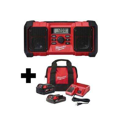 M18 18-Volt Lithium-Ion Cordless Jobsite Radio W/ One M18 5.0 Ah and One 2.0 Ah Battery, Bag & Charger