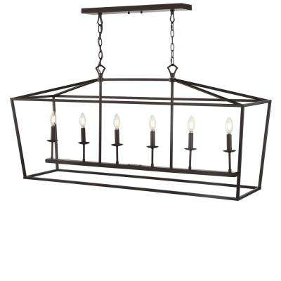 Pagoda 49 in. 6-Bulb Oil Rubbed Bronze Lantern Metal LED Pendant