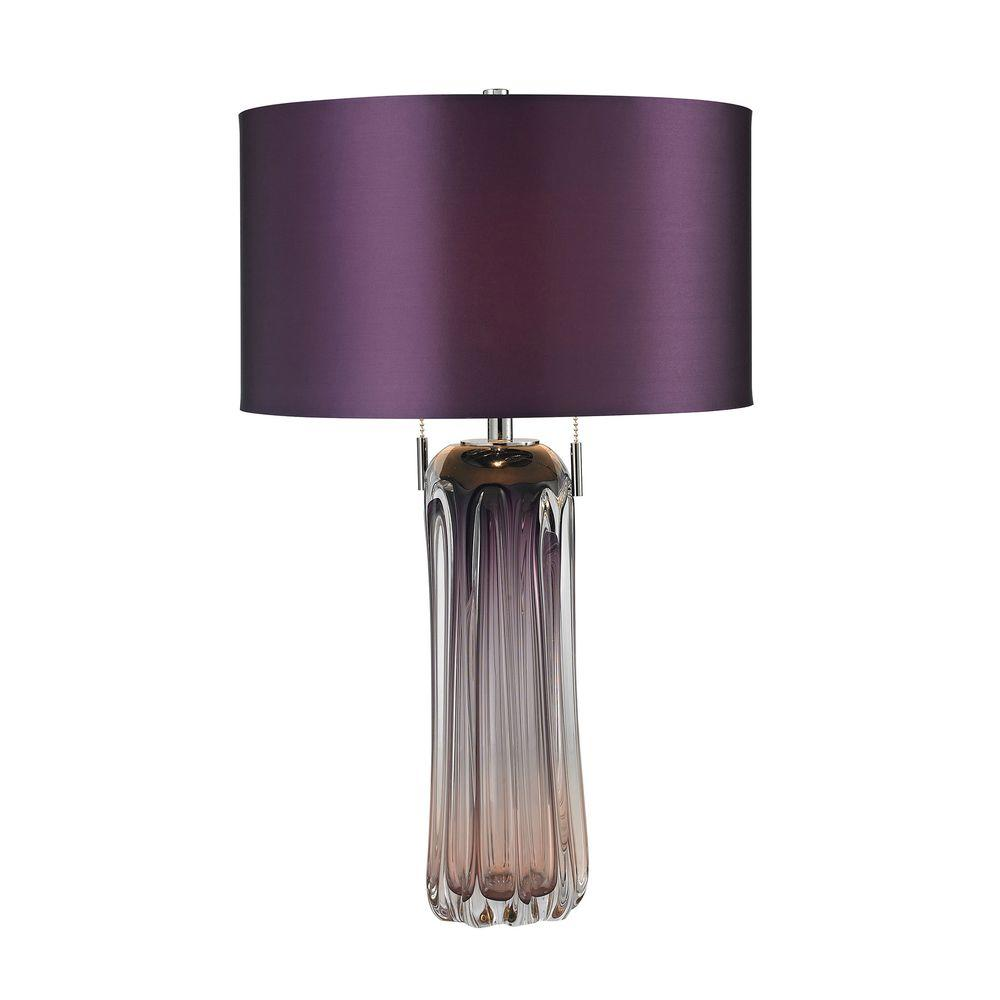 Purple free blown glass table lamp