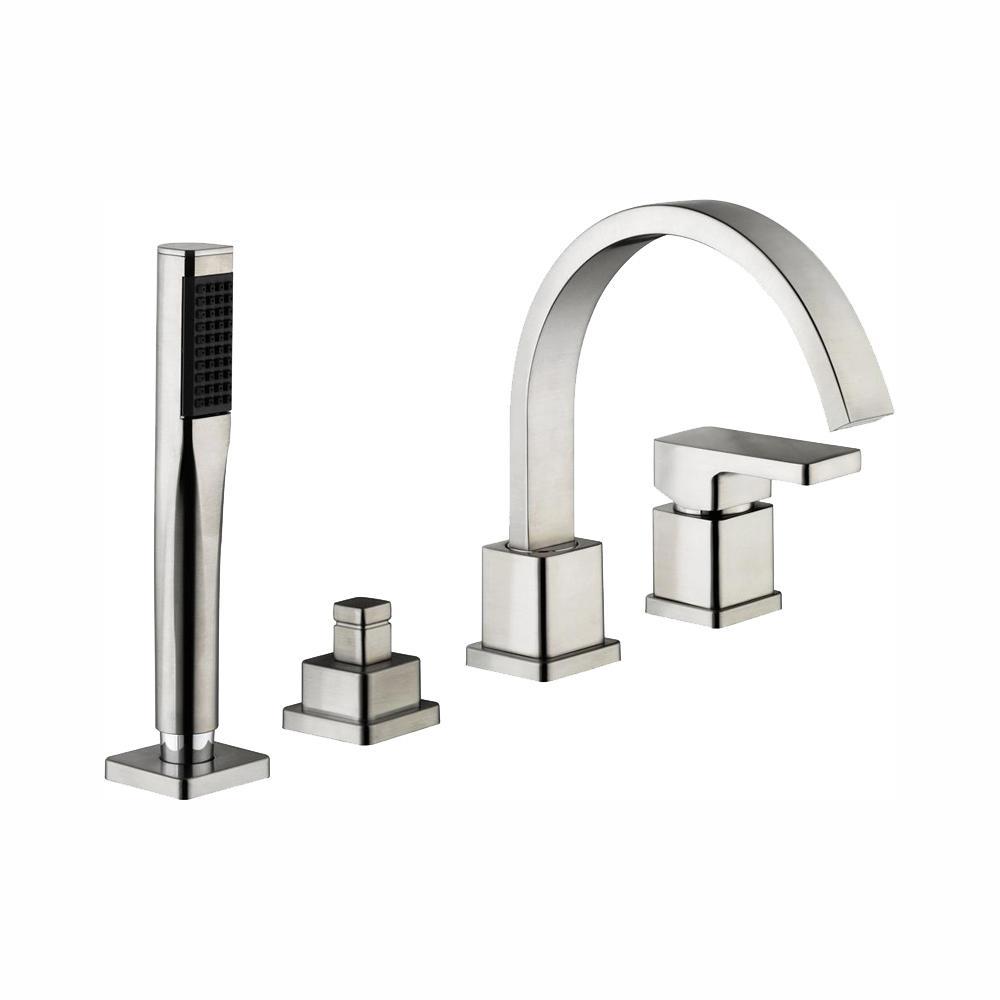 Schon Marx Single-Handle Deck Mount Roman Tub Faucet with Handshower in Brushed Nickel