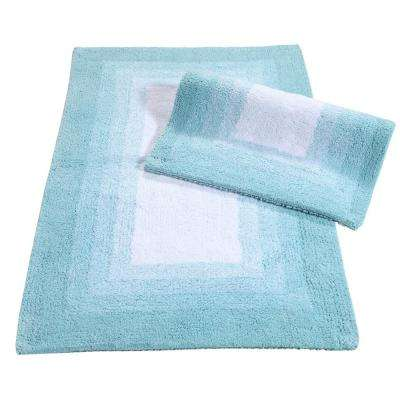 Whitney Ombre Reversible Porcelain Blue 21 in. x 34 in. 2-Piece Bath Rug Set