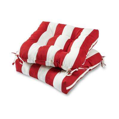 Cabana Stripe Red Square Tufted Outdoor Seat Cushion (2-Set)