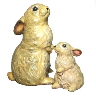 10 in. Rabbit and 6 in. Baby Bunny Statue Combo Family Set