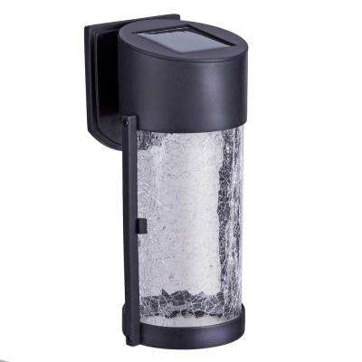 2-Light Black Solar LED Outdoor Wall Lantern with Glass