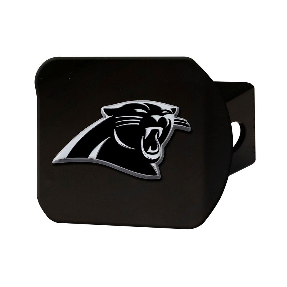 FANMATS 21500 NFL Carolina Panthers Black 2 Square Type III Metal Hitch Cover with 3D Chrome Emblem