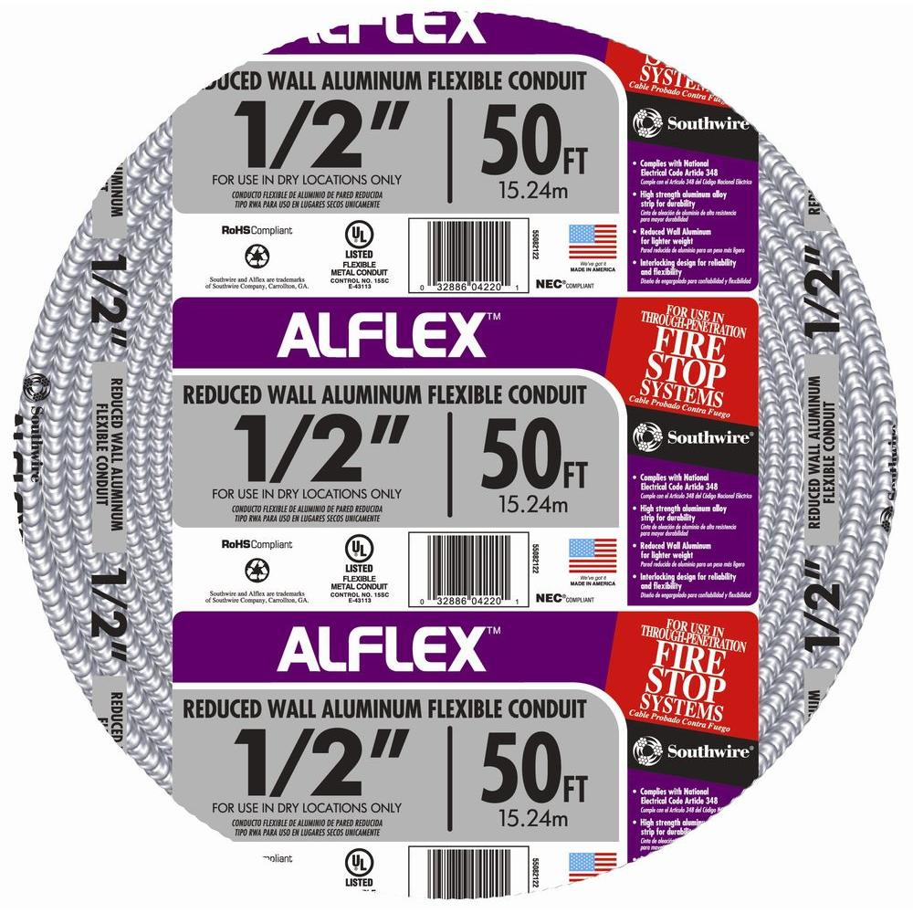 "Southwire ""1/2 in. x 50 ft. Alflex RWA Metallic Aluminum Flexible Conduit"""