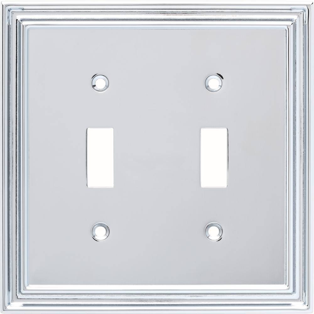 Liberty Silverton Decorative Double Light Switch Cover, Polished Chrome