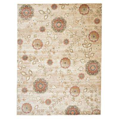Floral Beige 5 ft. 3 in. x 7 ft. 3 in. Area Rug