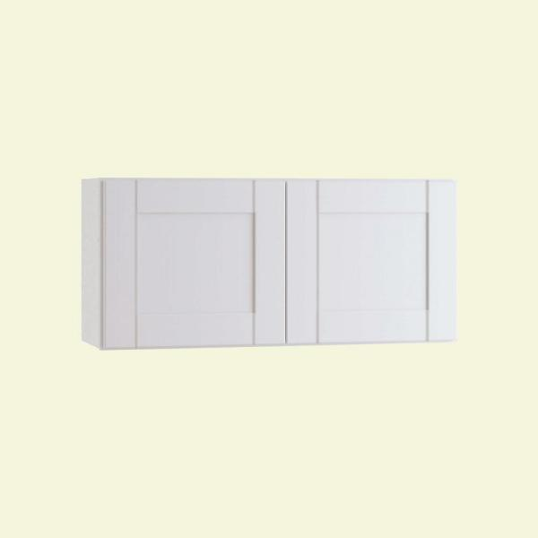 Home Decorators Collection Wchester Light Vespar White Thermofoil Plywood Shaker Stock Semi Custom Wall Kitchen Cabinet 30 In W X 12 In D W3012 Wvw The Home Depot