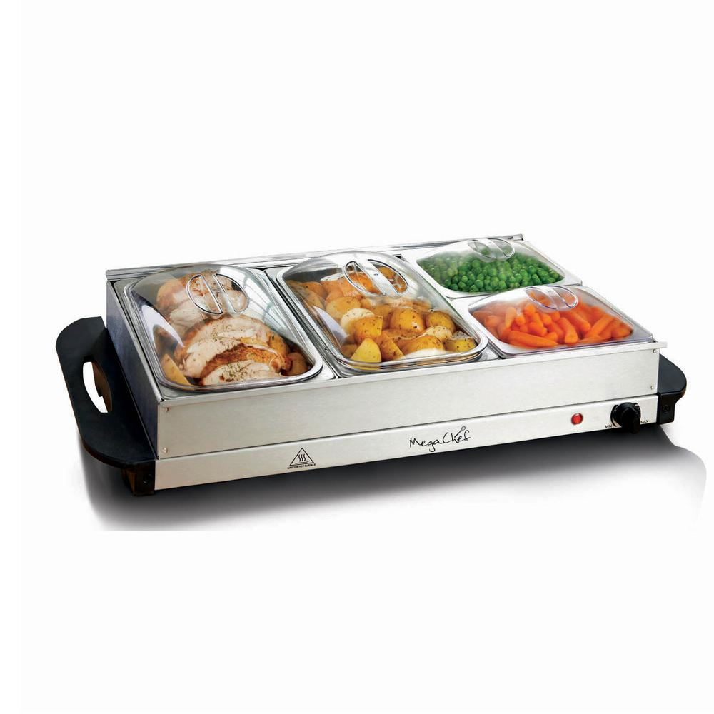 megachef buffet server and food warmer with 4 sectional trays rh homedepot com vonshef 3 tray food warmer buffet server vonshef 3 tray food warmer buffet server