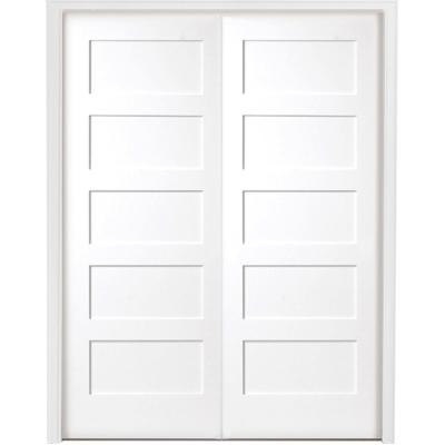 48 in. x 80 in. 5-Panel Shaker White Primed Solid Core Wood Double Prehung Interior Door with Bronze Hinges