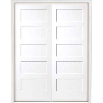 60 in. x 80 in. 5-Panel Shaker White Primed Solid Core Wood Double Prehung Interior Door with Bronze Hinges