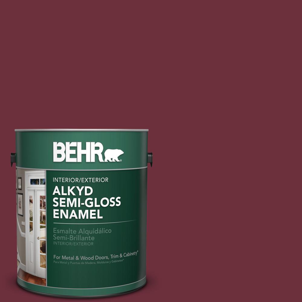 1 gal. #BXC-90 Wild Cranberry Semi-Gloss Enamel Alkyd Interior/Exterior Paint