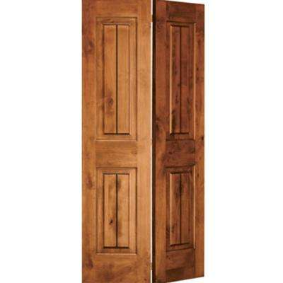 36 in. x 80 in. Rustic Knotty Alder 2 Panel Square Top w/V-Grooves Solid Core Unfinished Wood Interior Bi-Fold Door