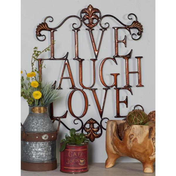 Litton Lane Iron Bronze Live Love Laugh Metal Work 48487 The Home Depot