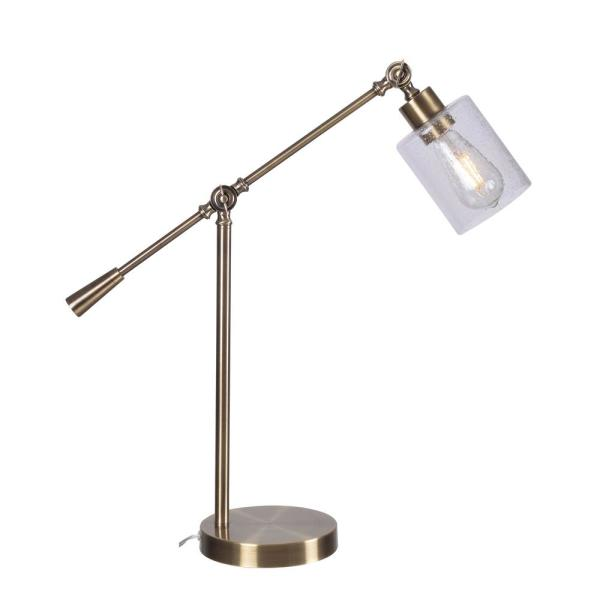 William 26.5 in. Antique Brass Indoor Desk Lamp with Bulb Included