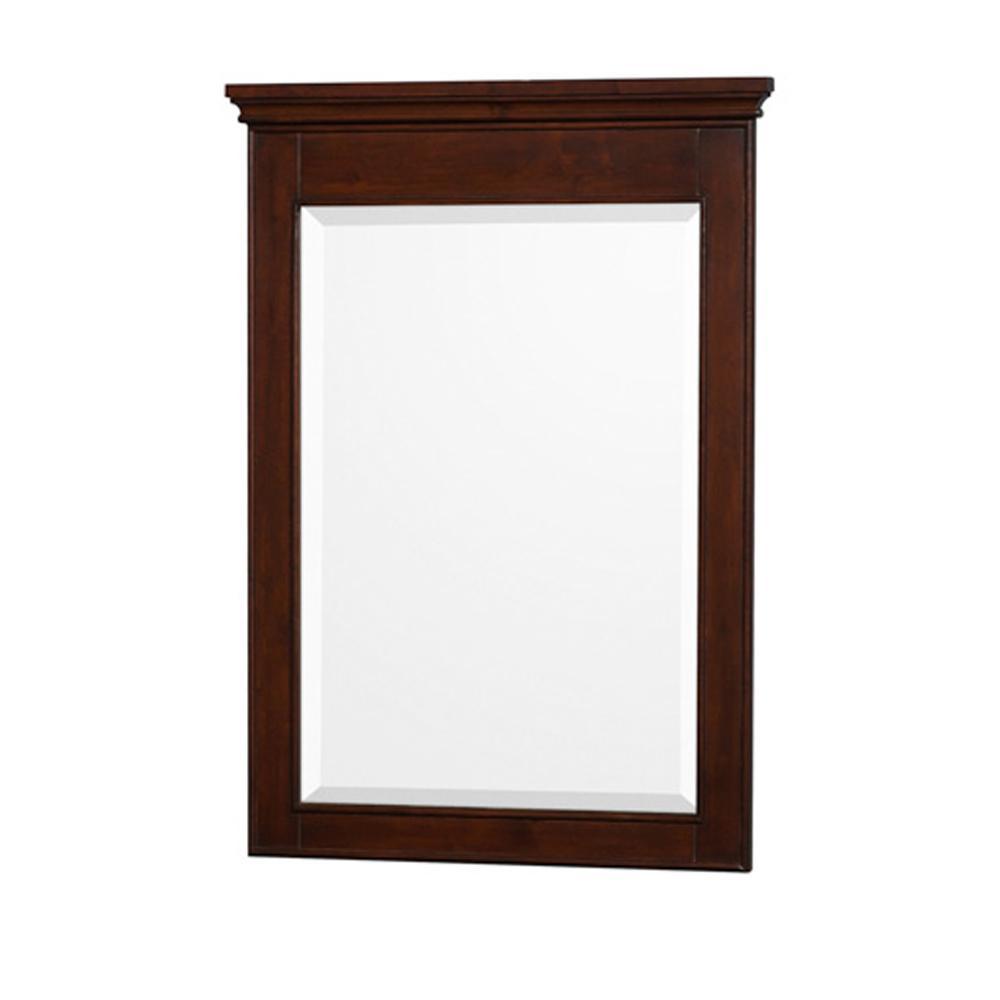 Berkeley 24 in. W x 34 in. H Framed Wall Mirror in Dark Chestnut