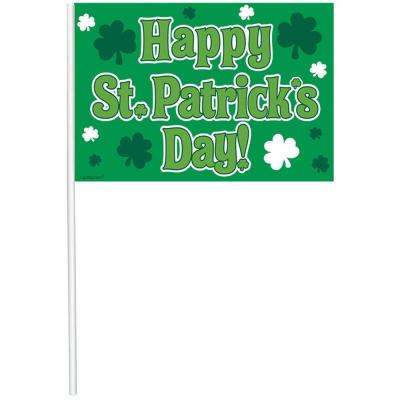 10.5 in. x 6.5 in. St. Patrick's Day Plastic Flags (12-Count, 2-Pack)