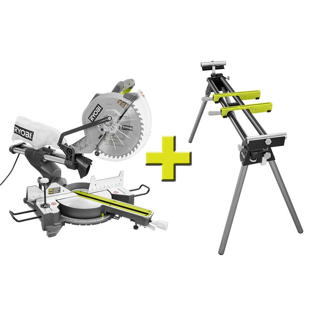 Ryobi 10 in sliding miter with stand tss102l rms10g the home depot sliding miter with stand greentooth Image collections