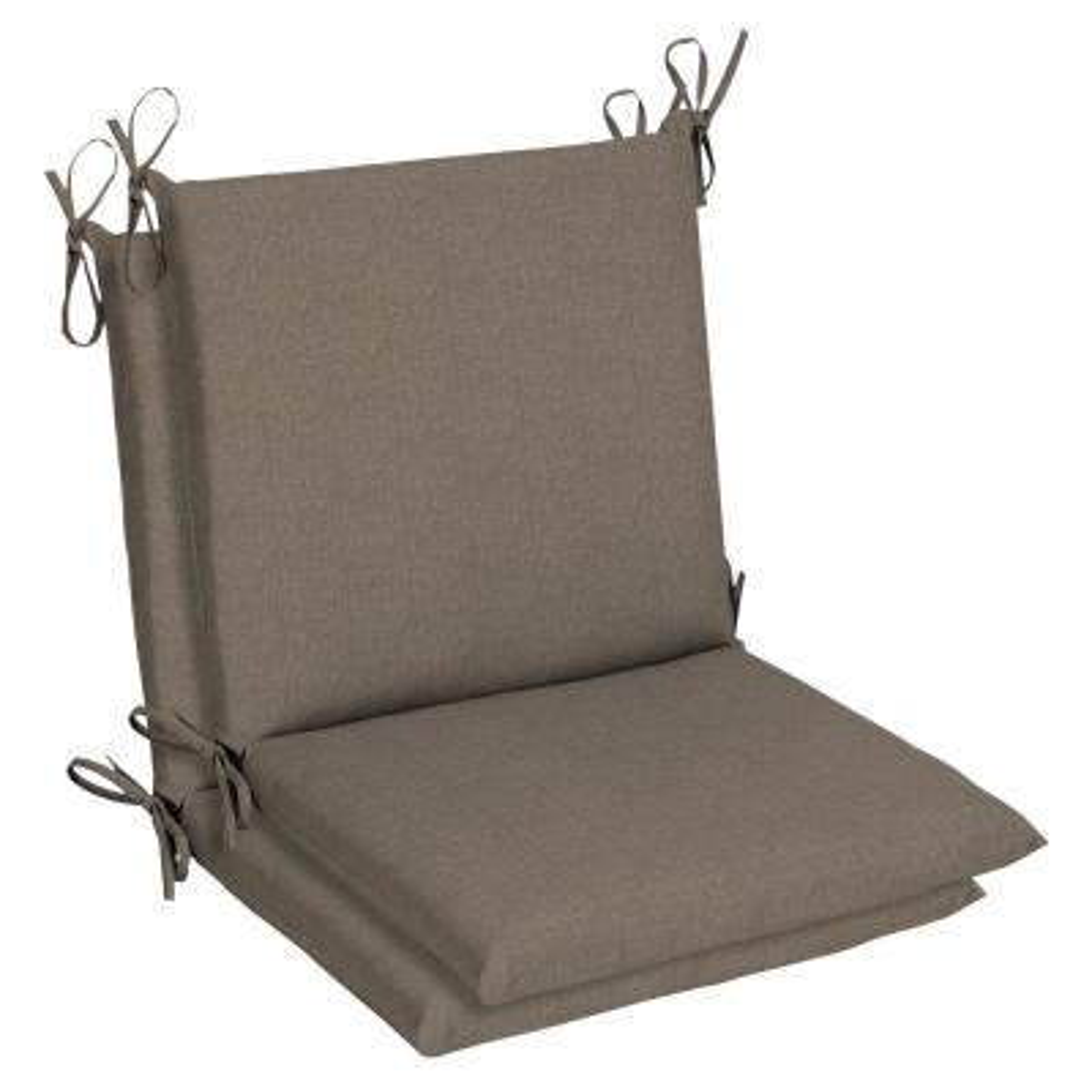 Belcourt 19 x 36 Sunbrella Cast Shale Mid Back Outdoor Dining Chair Cushion (2-Pack)