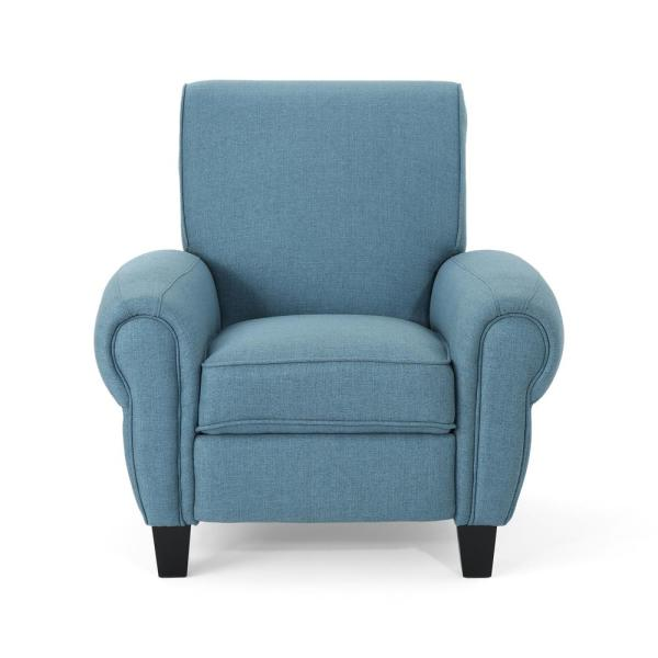 Noble House Del Monte Traditional Blue Fabric Push Back Recliner 305847