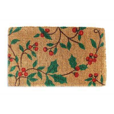 Traditional Coir Mat, Holly Princess, 30 in. x 18 in. Natural Coconut Husk Doormat