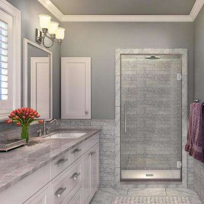 Kinkade 35.75 - 36.25 in. x 72 in. Completely Frameless Hinged Shower Door in Polished Chrome