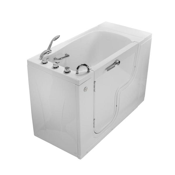 Ella Wheelchair Transfer 52 In Acrylic Soaking Walk In Tub In White With Faucet Set Heated Seat And Left 2 In Dual Drain Ola3052 L H The Home Depot