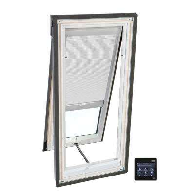 21 in. x 37-7/8 in. Venting Deck-Mount Skylight with Laminated Low-E3 Glass and White Solar Powered Room Darkening Blind