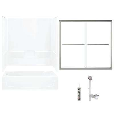 Performa 29 in. x 60 in. x 75.25 in. Bath and Shower Kit with Left-Hand Drain in White and Brushed Nickel
