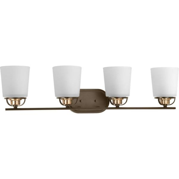 West Village Collection 4-Light Antique Bronze Bathroom Vanity Light with Glass Shades