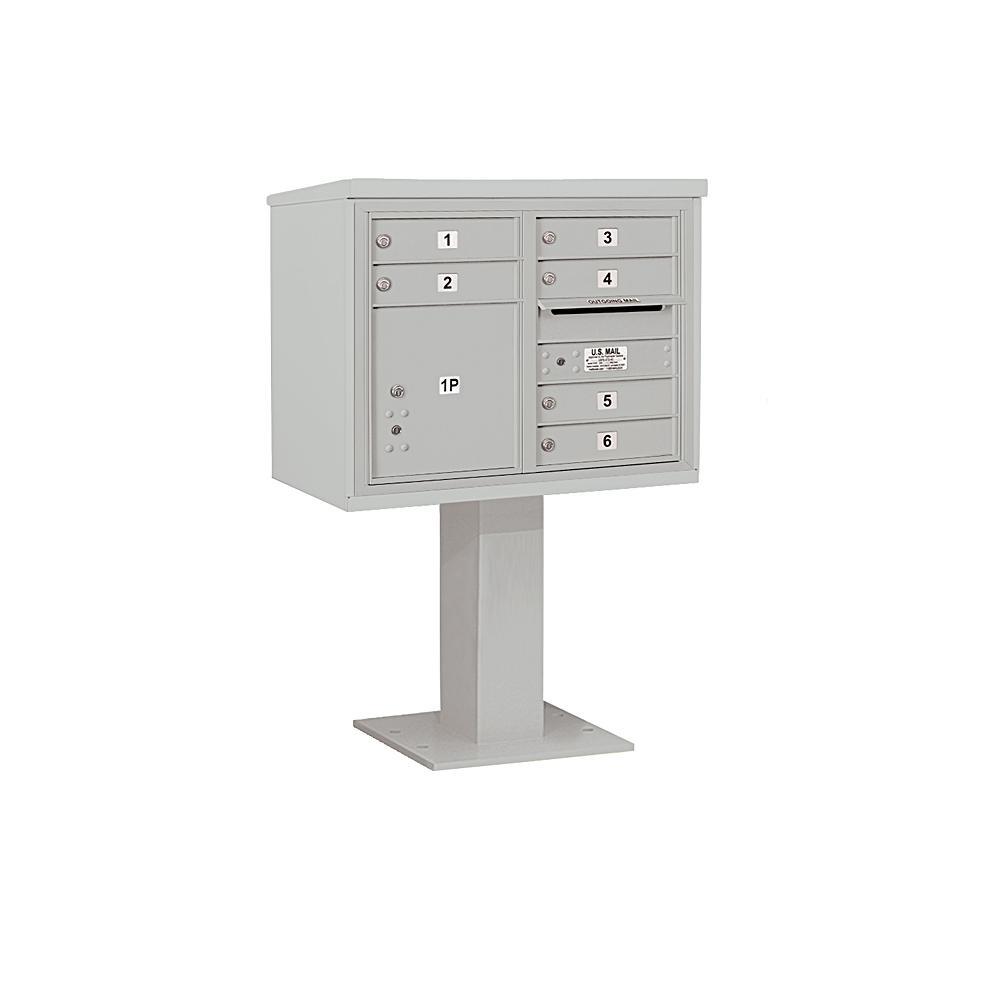 3400 Horizontal Series 6-Compartment 1-Parcel Locker Pedestal Mount Mailbox