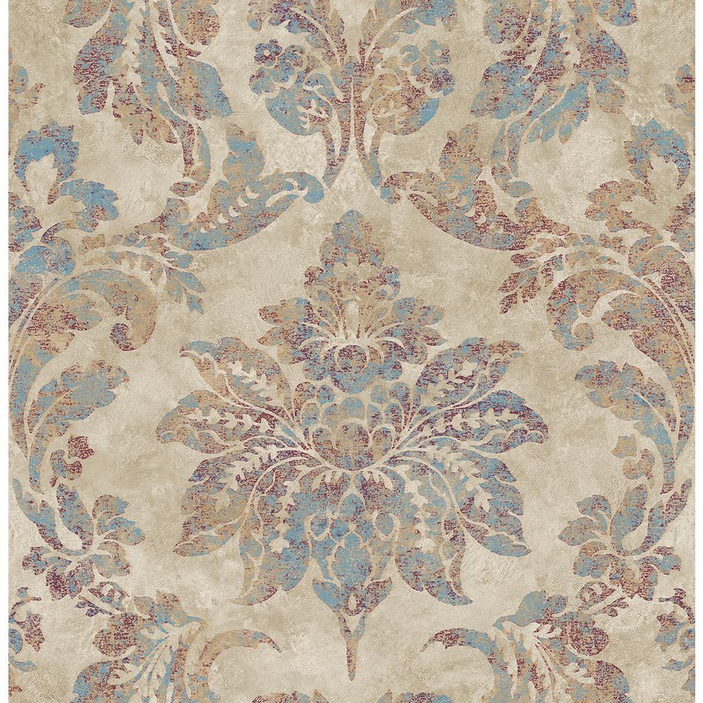 Astor Burgundy Damask Washable Wallpaper Sample