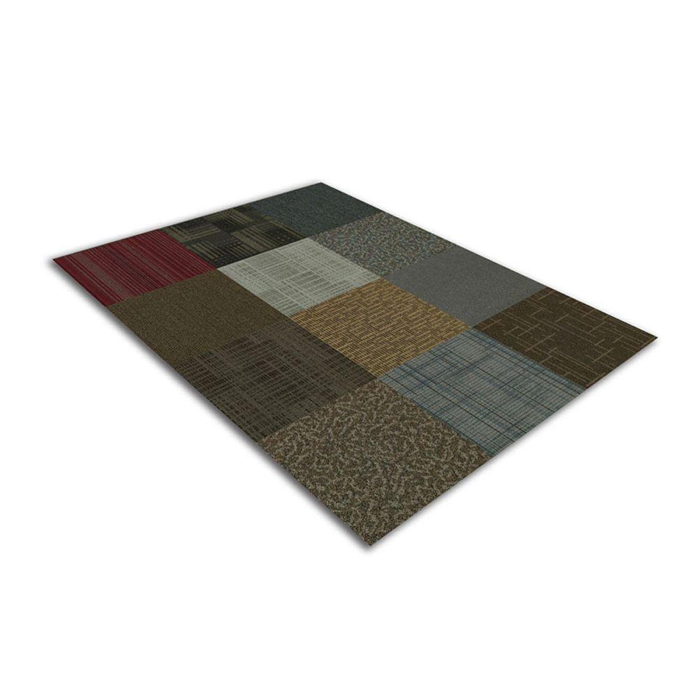 Kaleidoscope Collection Multicolor Assorted Loop Commercial 24 in. x 24 in. Carpet Tile (12 Tiles/Case)